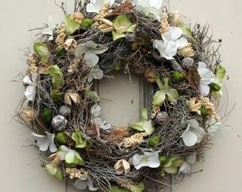 Door wreath spring hydrangea Dekokranz wall wreath wreath silk flowers handmade 34 cm