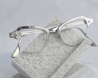 Bausch & Lomb Silver Cateye Browline Aluminum Eteched Frame Glasses // Gorgeous 50s Eyewear Sunglass Frames