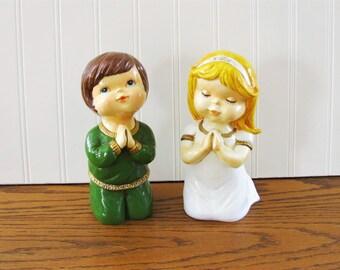 Large Vintage Praying Figurine Nursery Figurine Praying Boy Praying Girl Nursery Decor Star Figurine Made In Japan Figurine Kitschy Figurine