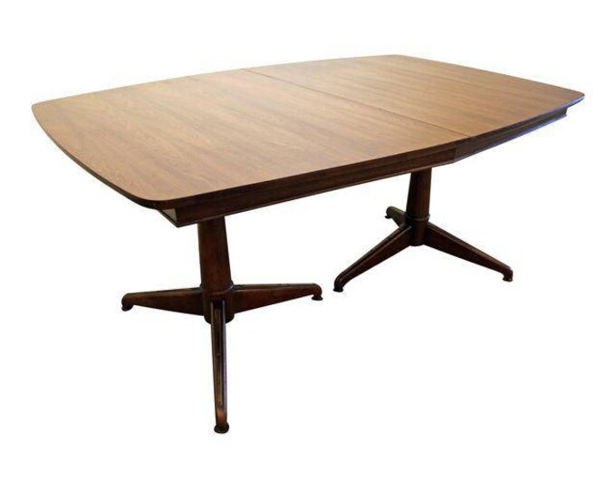 Mid-Century Danish Modern Pedestal Leg Surfboard Dining Table #9