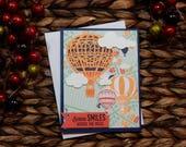 Sending Smiles Greeting Card / Handmade / Blank Inside Greeting Card / Stamped Greeting Card / Just Because Greeting Cards / Hot Air Balloon