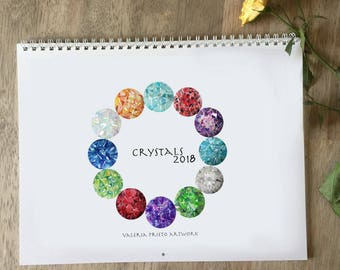 Birthstones calendar 2018, quartz calendar 2018, crystal calendar 2017, birthstones calendar, rocks calendar 2018, gemstones and crystals