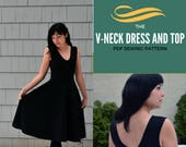 V-Neck Dress Pattern:  PDF printable Sewing Pattern for Women.  Sewing tutorial is included