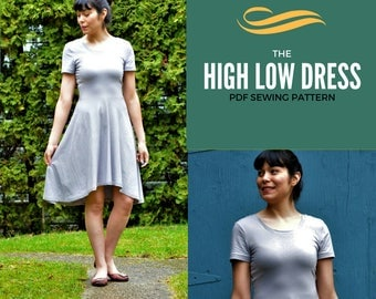High Low Skater Dress PDF printable sewing pattern and Step by Step sewing tutorial in size 4 to 22 for women