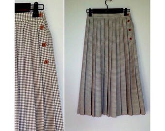 Pleated Vintage A-Line Skirt