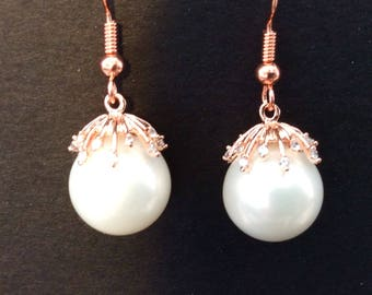 Rose gold and pearl earrings, drop pearl earrings, UK seller, rose gold and crystal