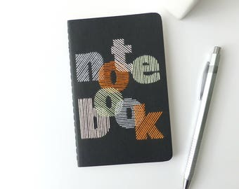 Hand embroidered booklet multicolored notebook typography-black-writing-graphic design embroidery-pocket format-man woman and teen gift