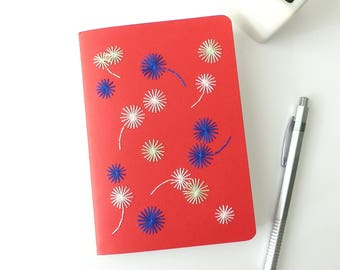 Hand embroidered notebook tricolor graphic flowers pattern-red booklet-writing-sketch-textile design-embroidered stationery-woman teen gift