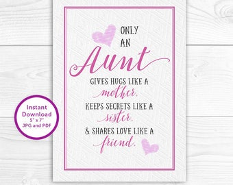 Teacher card last day of school gift thank you teacher only an aunt printable only an aunt aunt quotes aunt phrases aunt stopboris Choice Image