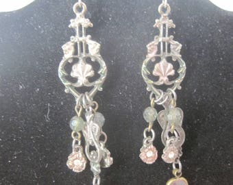 Vintage Green and Pink Silver Tone Dangle