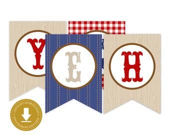 Yeehaw Banner | Western Party | Western Banner | Cowboy Banner | Cowboy Party | Printable Party Banner | Red Gingham Banner | Denim Banner