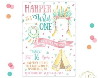 Wild One Invitation | Teepee Invitation | Tribal Invitation | 1st Birthday | First Birthday Party | Boho Party | Boho Invitation | Floral