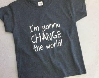 Tshirt - kids - boys - girls - Change the world