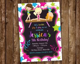 Gymnastics  Birthday Party Invitation- Printable or Printed