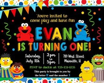 Baby, Elmo, Sesame Street, First Birthday, One Year, Birthday Party Invitation -  Digital or Printed