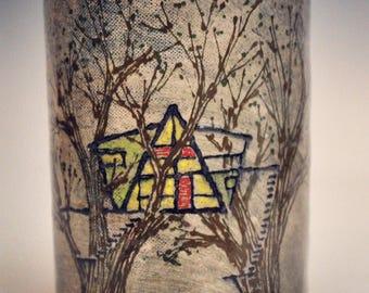 Ceramic Treehouse Tumbler or Utensil Cup