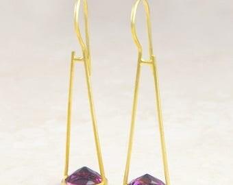 ON SALE NOW Amethyst Earrings, Gold Swing Earrings, Gold Amethyst Earrings, Dangle Earrings, Amethyst, Swinging Earrings, Gold Earrings, Sta