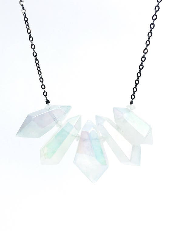 Aura Quartz & Moonstone Pendant Statement Necklace // 14k Rose Gold Filled or Oxidized Sterling Silver //