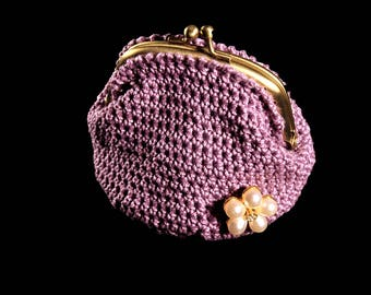 Crochet Coin Purse, Kiss Closure, Metal Goldtone Frame, Faux Pearl and Rhinestone Adornment, Dark Lilac