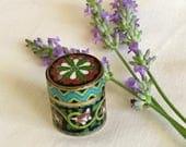 Vintage Cloisonne Decorative Container / Box - Vintage Pill Box - Tiny Decorative Container - Small Enamel Box -  Australian Seller