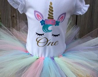Unicorn Birthday Outfit- Unicorn Tutu Outfit - First Birthday