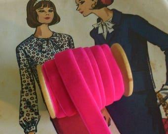 """Bright Pink Velvet Ribbon, Fuchsia Velvet Ribbon 3/8"""" Velvet Ribbon Spool 3 yards"""