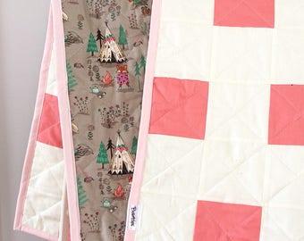 """Modern baby quilt """"tipi"""" handmade - Handmade modern quilt """"teepee"""""""
