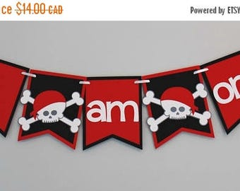 Pirate Highchair Banner/ I am one pirate banner/ Pirate 1st Birthday Banner/ Red and Black Pirate Banner/ Skull Banner/ Crossbones Banner