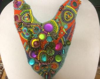 Bead Embroidery Multi-Color Collar