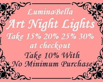 DISCOUNT COUPON CODES - 10, 15, 20, 25, 30% Quantity Discounts and Wholesale Savings on Stained Glass Night Lights and Stained Glass Art