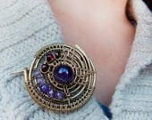 Round Brass Brooch Wire brooch Vintage style brooch Autumn Collection Gemstone brooch Gift Women Shawl pin Brass jewelry