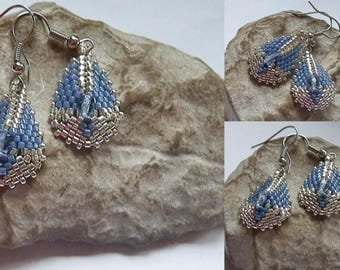 Earrings woven blue and silver