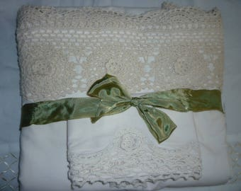 Sheet and Pillowcase. Beautiful vintage cotton sheet and pillowcase trimmed lace. Perfect for special guestroom,pamper yourself.