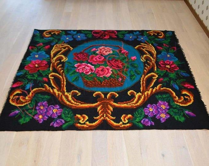 Bessarabian Kilim & area rugs. Vintage Moldovan Kilim, Rose kilim rug, handmade carpet. Vintage handwoven wool rug carpet. kom