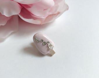 Pink ice cream pop lapel pin/brooch