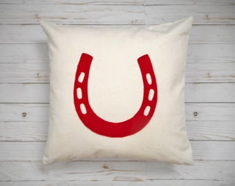 Horseshoe Pillow Cover, Custom Colors, Equestrian Decor, horse lover gift, pillow with horseshoe, barn pillow, pony pillow, horseshoe