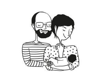 PORTRAIT PERSONNALISÉ NUMÉRIQUE - Illustration originale d'après photos - Dessin unique pour faire-part ou invitations