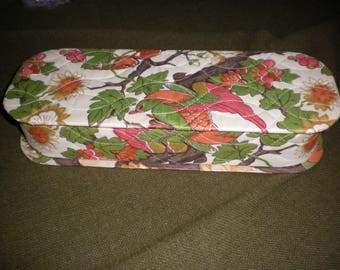 Vintage Chintz Style Fabric Covered Glove Box