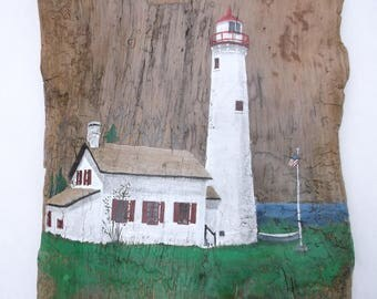 Sturgeon Point Lighthouse on Driftwood wall hanging - Michigan lighthouse overlooking Lake Huron between Alpena and Harissville