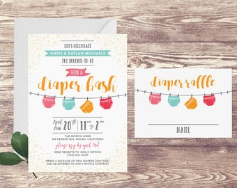 Printed Diaper Raffle Baby Shower Invitation, Diaper Bash Party Shower Invite, Diaper Baby Sprinkle, Couples Baby Shower Invitation