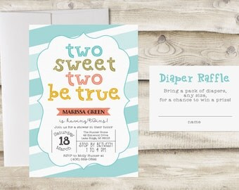Twins Baby Shower Invitation with Diaper Raffle Card, Twin Baby Shower Invitation, Twin Baby Sprinkle Invite, Couples Baby Shower Invitation