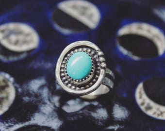 Sterling Silver Blue Royston Turquoise Ring, Handmade Turquoise Ring Size 4, Sky Blue Turquoise Chunky Ring, Small Blue Turquoise Pinky Ring