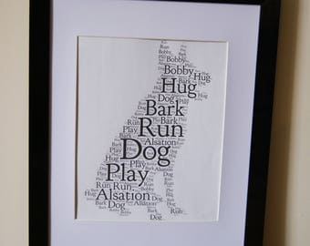 Personalised Word Art Print Dog Pet Alsation Any Breed of dog card gift Frame