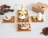 Coffee, Tea, cake, Mystery box, pop up, paperbox, origami, polymer clay miniature
