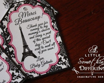 French Favor Tags / Black and Fuchsia / Paris Themed Party / Eiffel Tower / Favor Tags / Bridal Shower/ Birthday / Bachelorette / Las Vegas