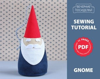 PDF Christmas Sewing Pattern, Sewing Tutorial, Christmas Pattern, Fabric Christmas Ornament Pattern, Gnome Pattern (in English)