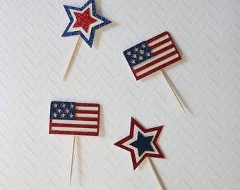4th of july cupcake toppers; American flag cupcake toppers