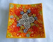 """Yellow Square Plate, 5"""" square, Turkish ceramic, yellow and orange plate, raised floral plate, trinket dish, coaster"""