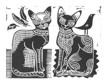 Cat Lino Print.