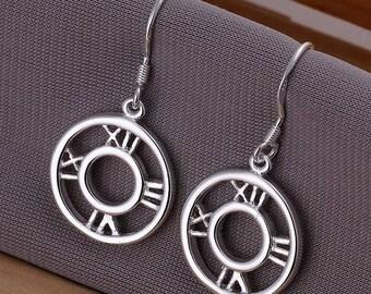 Silver Plated Clock Face Dangle Earrings